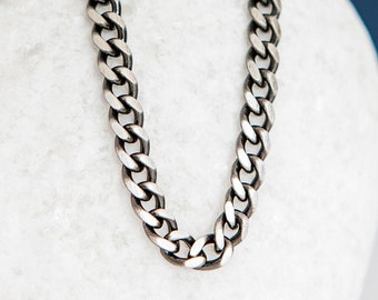 Oxidised Sterling Silver Curb Chain Necklace