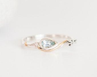 Personalised Teardrop Blue Topaz Sterling Silver Organic Ring