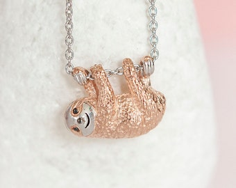 Personalised Rose Gold and Sterling Silver Sloth Pendant Necklace
