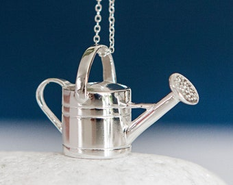 Personalised Sterling Silver Gardening Watering Can Pendant Necklace