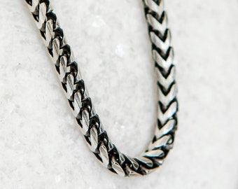 Oxidised Sterling Silver Snake Chain Necklace