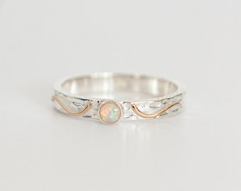 Personalised White Opal Solitaire Slim Sterling Silver Organic Ring