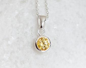Personalised Sterling Silver Citrine Zirconia November Birthstone Pendant Necklace