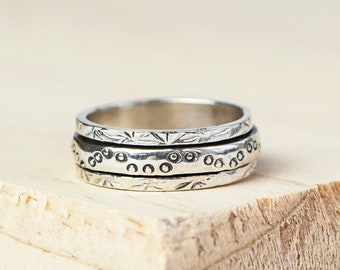 UK P Personalised Slim Dotty Spinner Ring * Sterling Silver * Boho * Anxiety, Meditation, Worry, Spinning Jewelry * Spin, Fidget