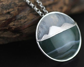 Personalised Mountain Necklace * Sterling Silver * Mountain Pendant * Mountain Agate Necklace * Coastal Necklace * Wanderlust Jewelry *