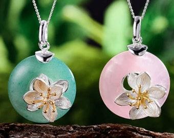 Personalised Gemstone Lotus Necklace * Sterling Silver * Flower Pendant * Flower Jewelry * Botanical Gift * Floral * Summer Flower * Flower