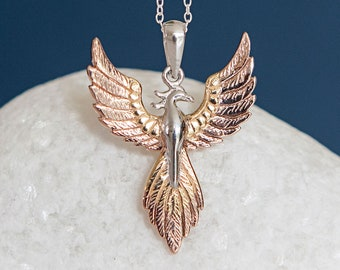 Personalised Gold and Sterling Silver Phoenix Pendant Necklace