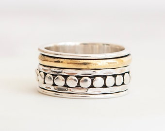 UK S Personalised Dotty Spinner Ring * Sterling Silver * Boho * Anxiety, Meditation, Worry, Spinning Jewelry * Spin, Fidget