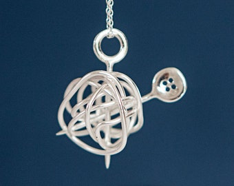 Personalised Sterling Silver Wool Ball Knitting Needle and Button Pendant Necklace