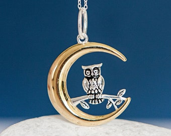 Personalised Sterling Silver Owl Inside a Gold Crescent Moon Pendant Necklace