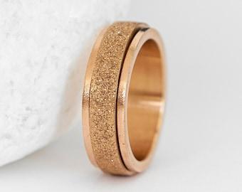 Personalised Stainless Steel Sandblasted Rose Gold Slim Spinner Ring