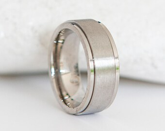 Personalised Stainless Steel Silver Wide Spinner Ring
