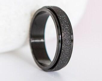 Personalised Stainless Steel Black Sandblasted Slim Spinner Ring