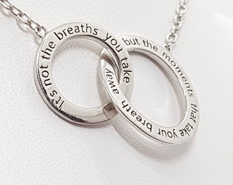 Personalised Moments Necklace * Sterling Silver * Its Not The Breaths You Take, But The Moments That Take Your Breath Away