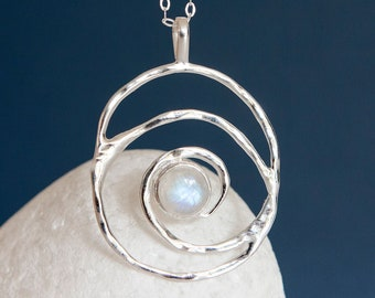 Personalised Rainbow Moonstone Sterling Silver Organic Spiral Pendant Necklace