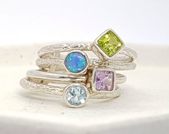 UK P Opalite, Amethyst, Peridot, Topaz Joined Stacking Ring * Sterling Silver * Rustic Organic Jewelry * Unique Womens Engagement Ring *