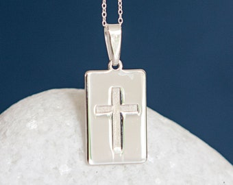 Personalised Sterling Silver Lords Prayer Cross Tablet Pendant Necklace
