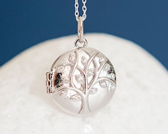 Personalised Sterling Silver Tree of Life Locket Pendant Necklace