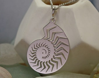Personalised Seashell Necklace * Sterling Silver * Silver Seashell * Nautilus Shell Necklace * Carved Shell Jewelry * Personalised Gift