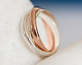Personalised Rose Gold and Sterling Silver Interlocking Russian Wedding Ring