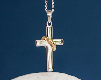 Personalised Sterling Silver and Gold Halo Cross Pendant Necklace