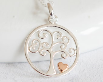 Personalised Tree of Life Necklace * Sterling Silver * Gold * Heart Pendant * Family Jewelry * Woodland * Nature * Tree-of-Life * Gift