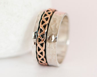 Personalised Sterling Silver and Copper Celtic Spinner Ring