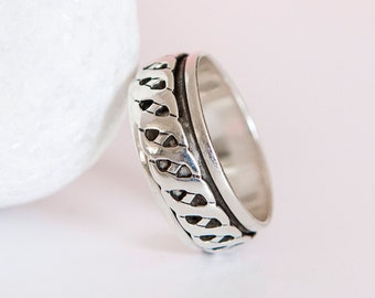 O 1/2 | 7 1/4 | 56 Personalised Sterling Silver Celtic Twist Spinner Ring