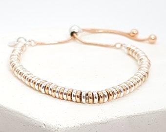 Personalised Halo Ring Bracelet * Sterling Silver * Rose Gold * Adjustable Slider Jewelry * Bridesmaid Gift * Wedding Bangle * Stacking