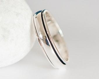 Personalised Sterling Silver Slim Spinner Ring