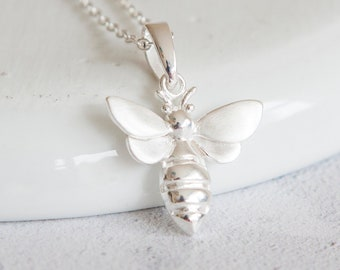 Personalised Bee Necklace * Sterling Silver * Bumble Bee Gift * Worker Bee Jewelry * Honey Bee * Manchester Bee * Bee Pendant * Queen Insect