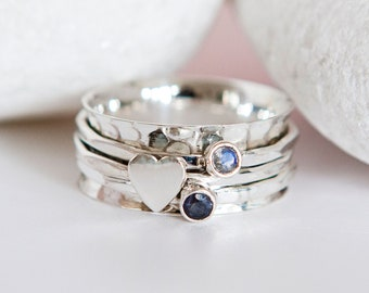 Personalised Sterling Silver Heart Spinner Ring
