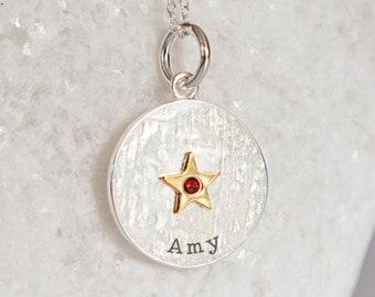Personalised Sterling Silver Garnet Zirconia January Birthstone Star Pendant Necklace