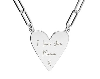 Personalised Sterling Silver Wide Chain Link Heart Pendant Necklace