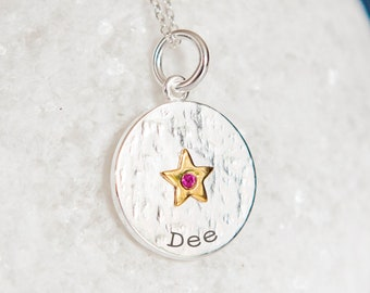 Personalised Sterling Silver Ruby Zirconia July Birthstone Star Pendant Necklace