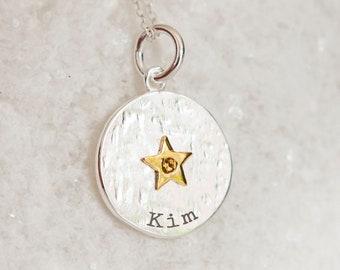 Personalised Sterling Silver Citrine Zirconia November Birthstone Star Pendant Necklace