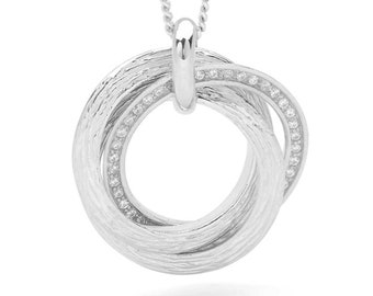 Personalised Sterling Silver Interlocking Russian Wedding Ring Pendant Necklace