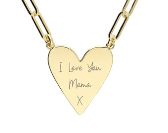 Personalised Gold Wide Chain Link Heart Pendant Necklace
