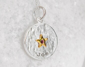 Personalised Sterling Silver Tourmaline Zirconia October Birthstone Star Pendant Necklace
