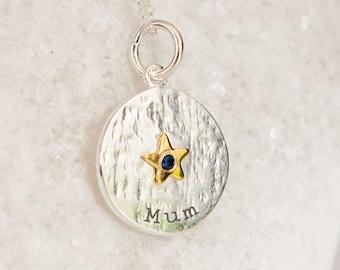 Personalised Sterling Silver Blue Topaz Zirconia December Birthstone Star Pendant Necklace
