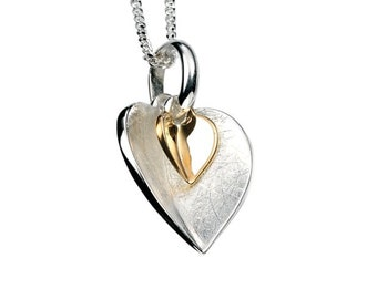 Personalised Sterling Silver Gold Double Heart Pendant Necklace
