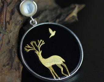 Personalised The Lost Deer * Woodland Necklace * Sterling Silver * Bird Pendant * Bird Jewelry * Deer Gift * Bird Necklace * Woodland Bird