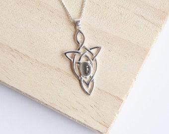 Eveleen * Celtic Necklace * Sterling Silver * Motherhood Knot * Birthstone Jewelry * Gemstone Pendant * Dainty * Minimalist * Layer * Boho
