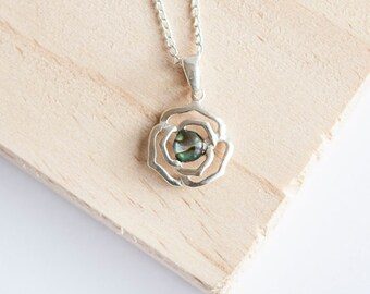 Personalised Rose Necklace * Sterling Silver * Flower Pendant * Flower Jewelry * Botanical Gift * Floral * Summer Flower * Flower Girl *