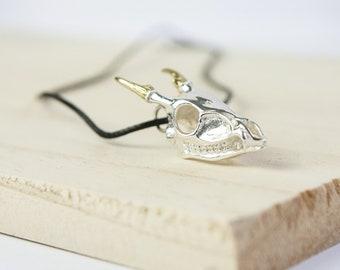 Katherine * Deer Skull Necklace * Sterling Silver * Memento Mori * Anatomical Pendant * Animal Anatomy Skeleton * Curiosity
