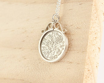 Falcon * Sixpence Necklace * Sterling Silver * Lucky Pendant * English Coin * Bridal Wedding Jewelry * Personalised Birthday Gift *