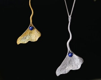 Personalised Gingko Leaf Necklace * Sterling Silver * Woodland * Flora Fauna * Lapis Gemstone Jewelry *