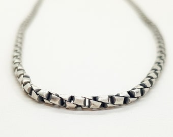 Sterling Silver Oxidized Twisted Box Chain Necklace - 22 inch