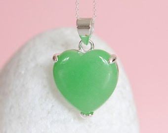 Personalised Sterling Silver and Jade Heart Pendant Necklace