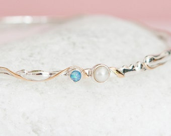 Personalised Blue Opal and Freshwater Pearl Sterling Silver Organic Bangle Bracelet
